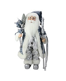 Ice Palace Standing Santa Claus Holding A Staff and Bag Christmas Figure