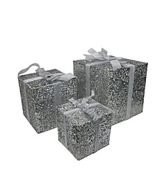 Lighted Silver Tone Glitter Gi Box Christmas Outdoor Decorations