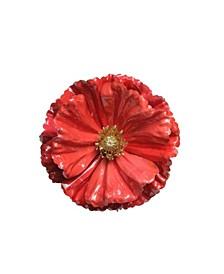 Shiny Coral Poppy Clip Christmas Ornament