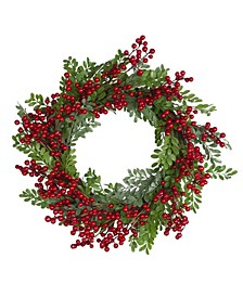 Berries and Two Tone Leaves Artificial Christmas Wreath-Unlit