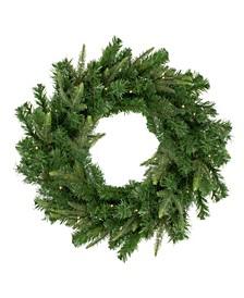 Pre-Lit Roosevelt Fir Artificial Christmas Wreath Warm LED Lights