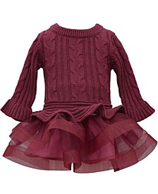 Baby Girls Burgundy Cable Knit Sweater To Horsehair Tiered Skirt