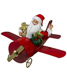 Waving Santa Delivering Presents on a Plane Christmas Decoration
