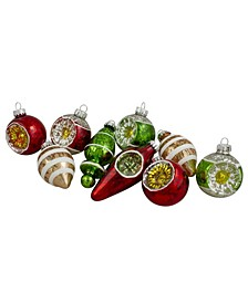 9 Count Retro Reflector Glitte Glass Christmas Ornaments