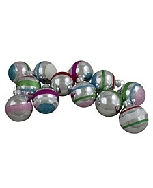 Count Shiny Glitter Striped Glass Christmas Ball Ornaments