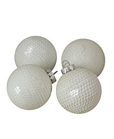 4 Count Sequined Shiny Christmas Ball Ornaments