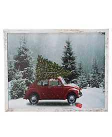 Distressed Frame Vintage-Like Vw Car LED Lighted Christmas Canvas
