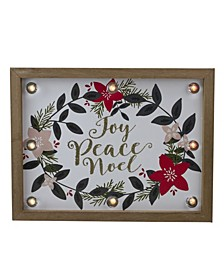 "Framed Floral ""Joy Peace Noel"" Wooden Christmas Wall Plaque"