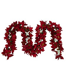 Unlit Artificial Poinsettia Floral Christmas Garland