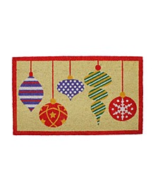 Brightly Colo Mixed Christmas Ornaments Doormat with Border
