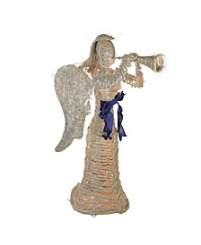 Lighted Glitter Dusted Angel with Horn Outdoor Christmas Yard Art
