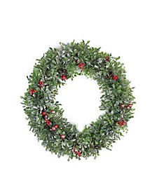 Boxwood Holly and Cranberry Artificial Christmas Wreath-Unlit