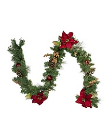Pine and Poinsettias Artificial Christmas Garland-Unlit