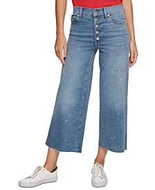 Splatter Crop Wide-Leg Jeans