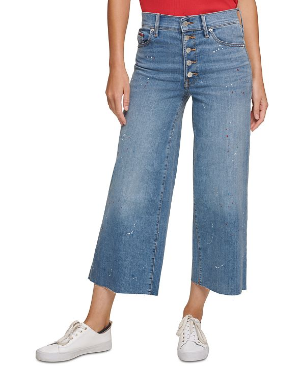 Tommy Jeans Splatter Crop Wide-Leg Jeans