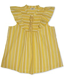 Petite Cotton Striped Smocked Ruffle-Sleeve Top, Created for Macy's