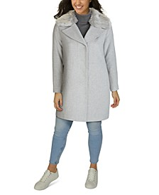 Plus Size Faux-Fur-Collar Walker Coat, Created for Macy's