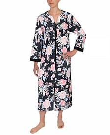 Plus Size Floral-Print Knit Zipper Robe