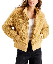 Juniors' Faux-Sherpa Zip-Up Jacket