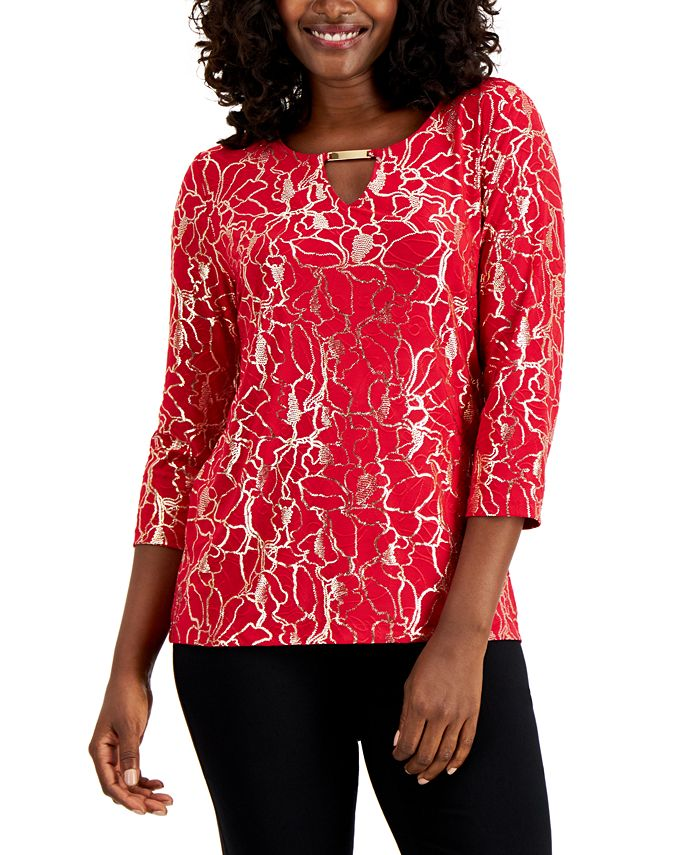 JM Collection - Metallic Embroidered Top
