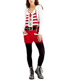 Juniors' Santa Sleeveless Holiday Sweater Romper