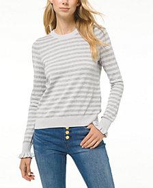 Michael Michael Kors Striped Ruffled-Cuff Sweater