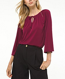 Tie-Neck Peasant Top, Regular & Petite