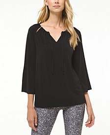Tie-Neck Peasant Top