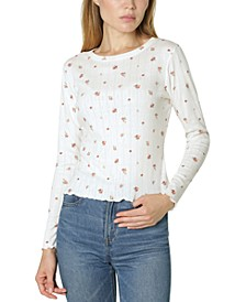 Juniors' Printed Pointelle-Knit Top