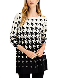 Alfani Ombre Houndstooth-Print Tunic Top, Created for Macy's