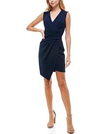 Juniors' V-Neck Asymmetrical Wrap-Style Dress