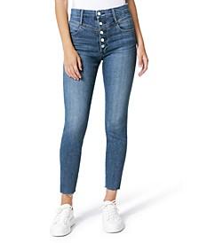 Hi Honey Button-Fly Frayed-Hem Jeans