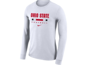 Nike Ohio State Buckeyes Men's Dri-Fit Cotton Icon Wordmark Long Sleeve T-Shirt