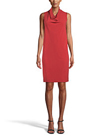 Anne Klein Cowlneck Crepe Shift Dress