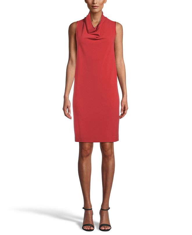 Anne Klein Cowlneck Crepe Shift Dress