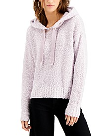Juniors' Fluffy-Knit Hooded Sweater