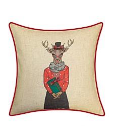 "Holiday Christmas Plaid Reindeer Girlfriend Decorative Pillow, 18"" x 18"""
