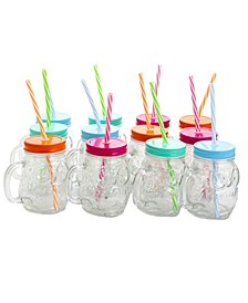 Swirl Delight 13.5 Ounce Glass Owl Shape Mason Jar Drinking Glass with Lids, Set of 12