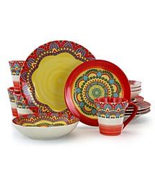 Zen Mozaik 16 Piece Luxurious Stoneware Dinnerware Set