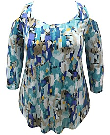Plus Size Abstract-Print Cold-Shoulder Top, Created for Macy's