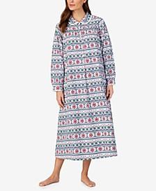 Cotton Lace-Trim Flannel Nightgown