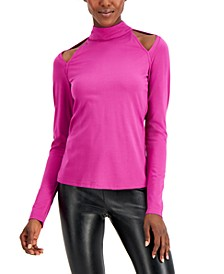 INC Cutout Mock-Neck Top, Created for Macy's