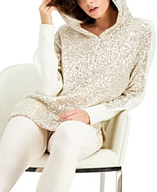 Plus Size Sequin Sweater Hoodie, Created for Macy's