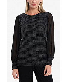 Vince Camuto Women's Sparkle Knit Chiffon Sleeve Top