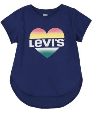 LEVI'S LITTLE GIRLS HEART LOGO HIGH-LOW T-SHIRT