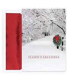 Snow Scene Holiday Boxed Cards, 18 Cards and 18 Foil Lined Envelopes
