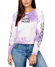Juniors' Love More Tie-Die Graphic Top