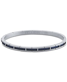 Cable Inlay Bangle Bracelet in Stainless Steel & 18k Blue PVD