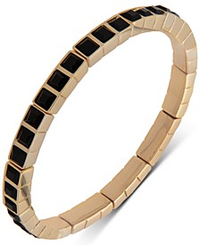 Gold-Tone Square Stone Stretch Bracelet