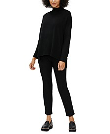 Mock-Neck High-Low Merino Wool Sweater